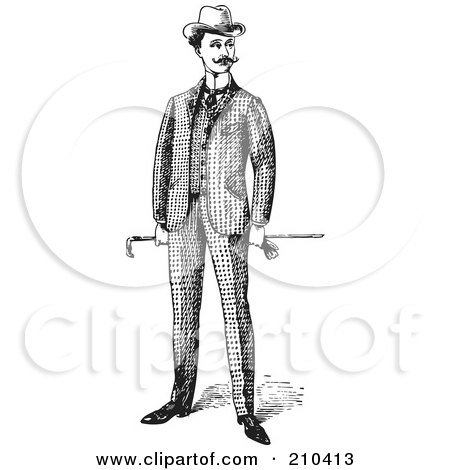 Royalty-Free (RF) Clipart Illustration of a Retro Black And White Gentleman Standing In A Suit - 1 by BestVector