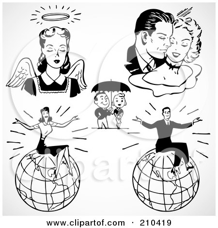 Royalty-Free (RF) Clipart Illustration of a Digital Collage Of Retro Black And White Couples, An Angel And Successful People by BestVector