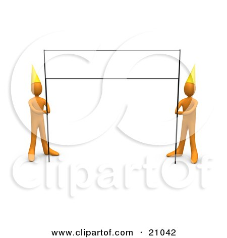 Clipart Illustration of a Blank Banner Sign Post Being Held By Two Orange People Wearing Party Hats by 3poD