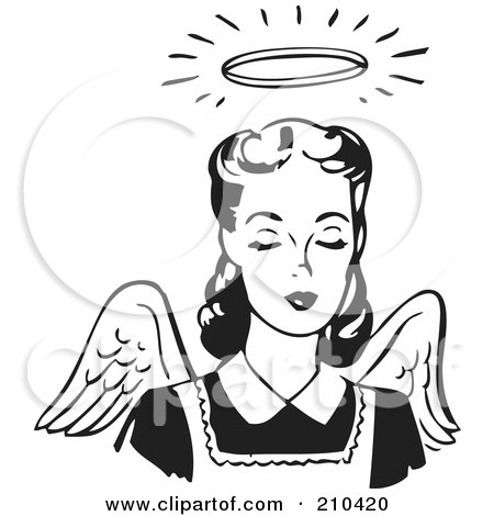 Royalty-Free (RF) Clipart Illustration of a Retro Black And White Angel Woman With Wings And A Halo by BestVector
