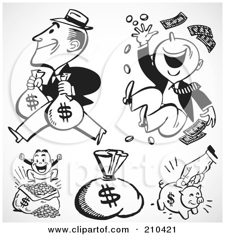Royalty-Free (RF) Clipart Illustration of a Digital Collage Of Rich Men, Money Sacks And A Piggy Bank by BestVector