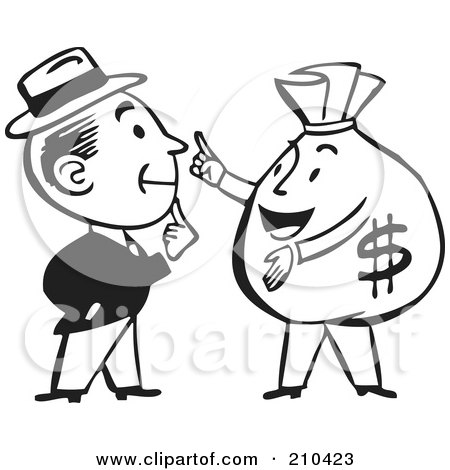 Royalty-Free (RF) Clipart Illustration of a Retro Black And White Man Talking To A Money Bag by BestVector