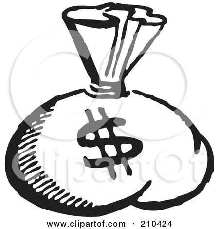 Royalty-Free (RF) Clipart Illustration of a Retro Black And White Money Sack With A Dollar Symbol by BestVector