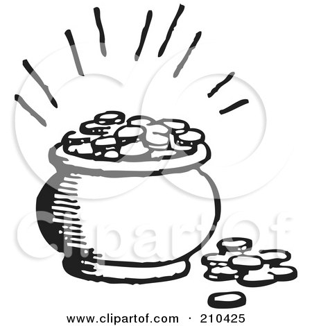 Royalty-Free (RF) Clipart Illustration of a Retro Black And White Pot Of Coins by BestVector