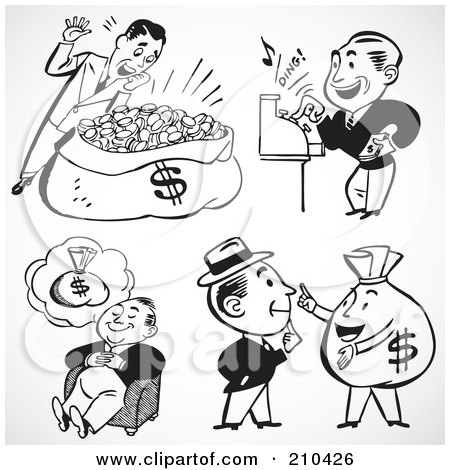 Royalty-Free (RF) Clipart Illustration of a Digital Collage Of Rich Men by BestVector