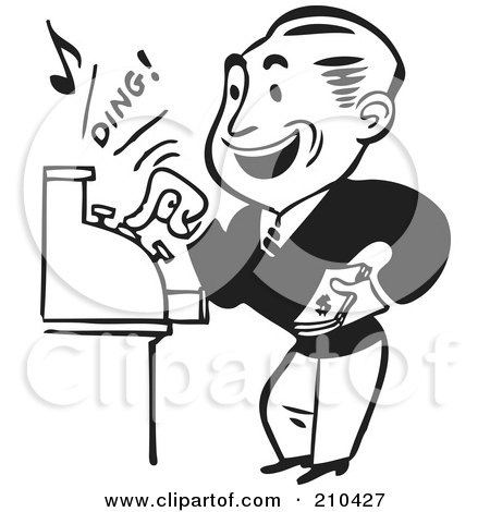 Royalty-Free (RF) Clipart Illustration of a Retro Black And White Man Operating A Cash Register by BestVector