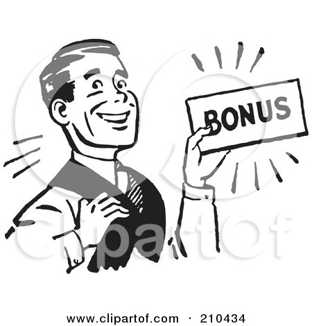 Royalty-Free (RF) Clipart Illustration of a Retro Black And White Man Carrying A Bonus by BestVector