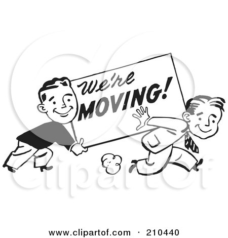 Royalty-Free (RF) Clipart Illustration of Retro Black And White Men Carrying A We're Moving Sign by BestVector