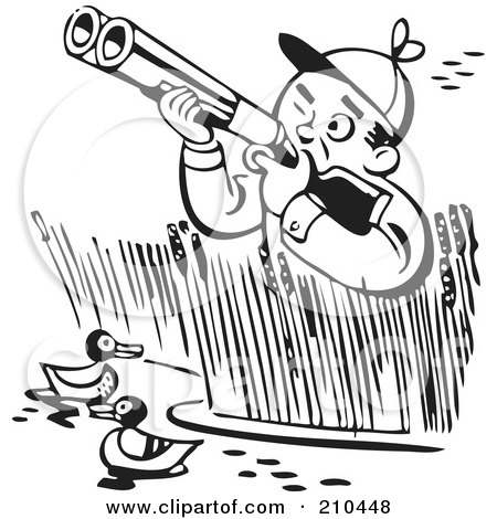 Royalty-Free (RF) Clipart Illustration of a Retro Black And White Man In Reeds, Shooting At Ducks by BestVector