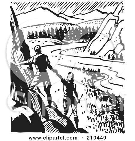 Retro Black And White Couple Hiking Viewing A Valley By BestVector
