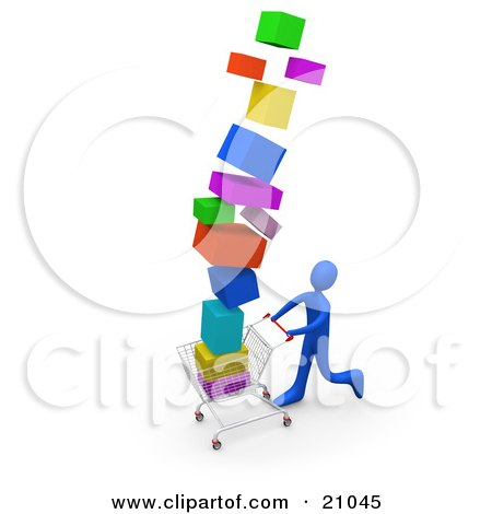 Clipart Illustration of a Blue Person On A Shopping Spree, Pushing A Cart Stacked High With Boxes by 3poD