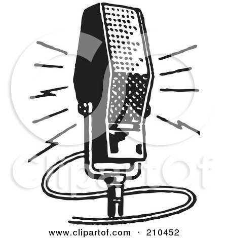 Royalty-Free (RF) Clipart Illustration of a Retro Black And White Microphone by BestVector