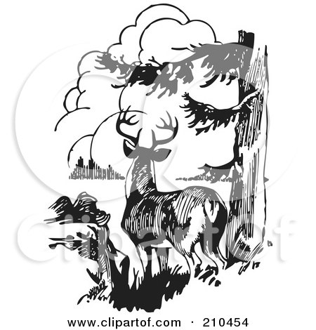 Royalty-Free (RF) Clipart Illustration of a Retro Black And White Buck In The Woods by BestVector