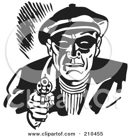 Royalty-Free (RF) Clipart Illustration of a Retro Black And White Criminal Pointing A Gun by BestVector
