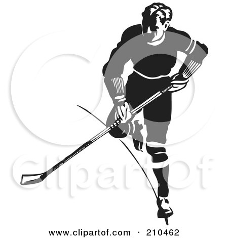 Royalty-Free (RF) Clipart Illustration of a Retro Black And White Hockey Player Running by BestVector