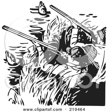 Royalty-Free (RF) Clipart Illustration of Retro Black And White Men Hunting Ducks by BestVector