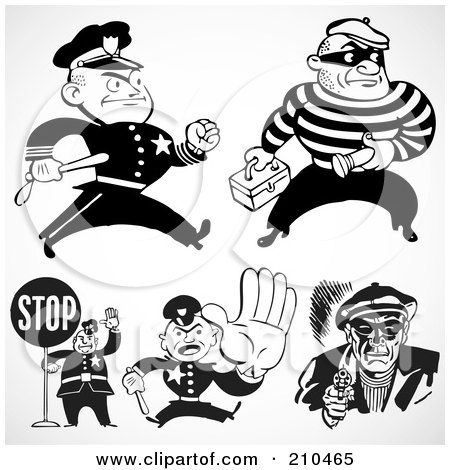 Royalty-Free (RF) Clipart Illustration of a Digital Collage Of Retro Black And White Policemen And Criminals by BestVector