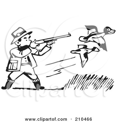 Royalty-Free (RF) Clipart Illustration of a Retro Black And White Man Shooting At Ducks by BestVector