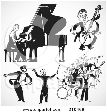 Royalty-Free (RF) Clipart Illustration of a Digital Collage Of Retro Black And White Bands And Musicians by BestVector