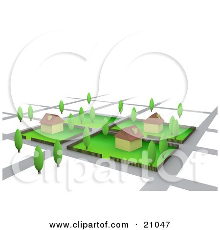 Clipart Illustration of Three Homes On Lots In A Neighborhood by 3poD