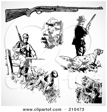 Royalty-Free (RF) Clipart Illustration of a Digital Collage Of Hunters by BestVector
