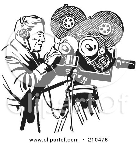 Royalty-Free (RF) Clipart Illustration of a Retro Black And White Camera Man Filming by BestVector