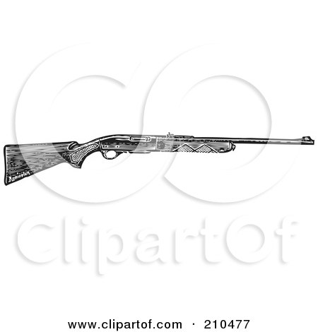 Royalty-Free (RF) Clipart Illustration of a Retro Black And White Hunting Rifle by BestVector
