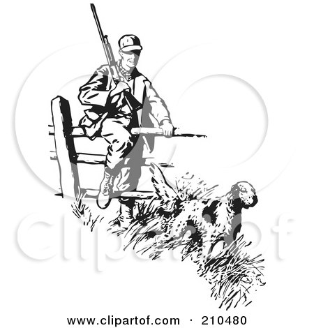 Royalty-Free (RF) Clipart Illustration of a Retro Black And White Hunting Dog Leading A Man Over A Fence by BestVector