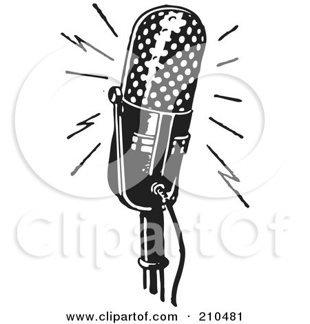 Royalty-Free (RF) Clipart Illustration of a Retro Black And White Rounded Microphone by BestVector