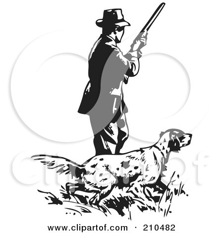 Royalty-Free (RF) Clipart Illustration of a Retro Black And White Man With A Hunting Dog by BestVector