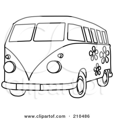 Royalty-Free (RF) Clipart Illustration of a Black And White Coloring Page Outline Of A Floral Hippie Bus Van by Rosie Piter