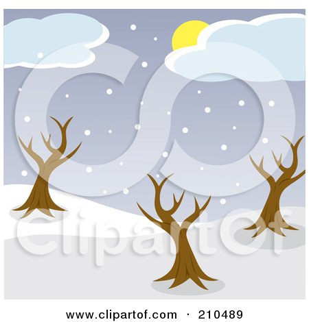Royalty-Free (RF) Clipart Illustration of a Sun Hidden Behind Clouds Above Snow And Bare Trees In A Park by Rosie Piter