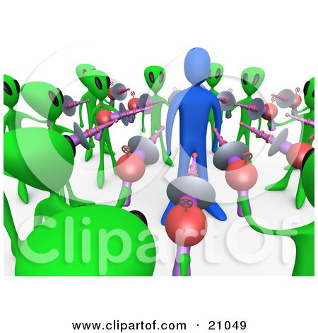 Clipart Illustration Of A Blue Person Being Held Hostage By Green Aliens With Ray Guns