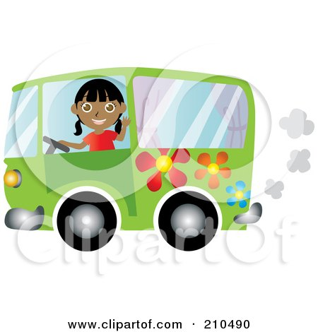 Royalty-Free (RF) Clipart Illustration of a Friendly Indian Woman Waving And Driving A Green Floral Hippie Bus Van by Rosie Piter