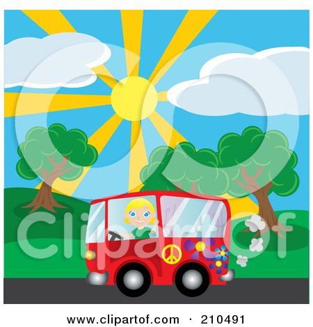 Royalty-Free (RF) Clipart Illustration of a Blond Girl Waving While Driving By A Park In A Red Hippie Van by Rosie Piter