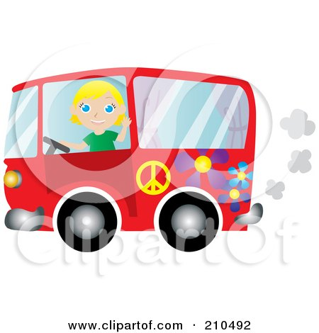 Royalty-Free (RF) Clipart Illustration of a Friendly Blond Woman Waving And Driving A Red Floral Hippie Bus Van by Rosie Piter