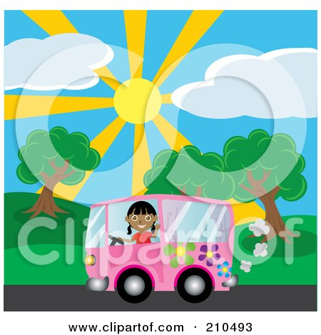 Royalty-Free (RF) Clipart Illustration of an Indian Girl Waving While Driving By A Park In A Purple Hippie Van by Rosie Piter
