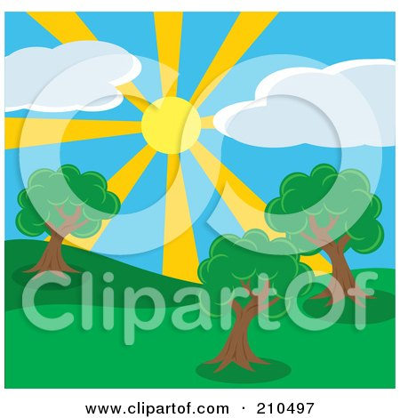 Royalty-Free (RF) Clipart Illustration of a Summer Sun Shining Down On A Hilly Park With Trees by Rosie Piter