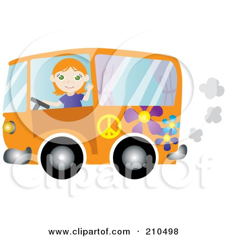Royalty-Free (RF) Clipart Illustration of a Friendly Irish Woman Waving And Driving An Orange Floral Hippie Bus Van by Rosie Piter