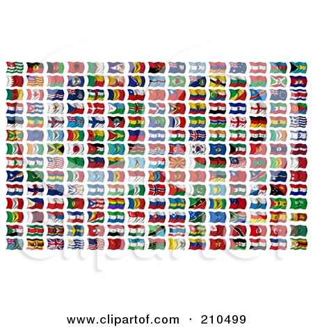 Royalty-Free (RF) Clipart Illustration of a Digital Collage Of 210 Wavy 3d International Flags Of The World by stockillustrations