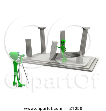 Clipart Illustration Of A Green Alien Leaning Against A Column Of Ancient Architectural Ruins Modeling For A Photographer