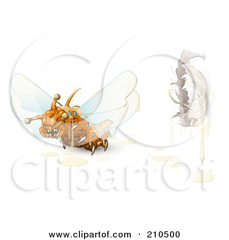 Royalty-Free (RF) Clipart Illustration of a Scary Orange Monster Fly Flying Away From A Cocoon by Leo Blanchette