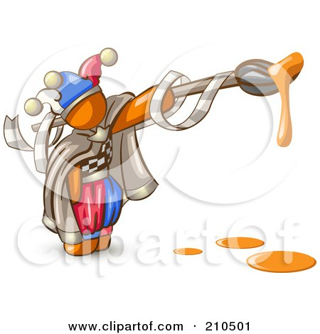 Orange Man Design Mascot Jester With A Dripping Paintbrush Posters, Art Prints