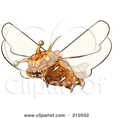 Royalty-Free (RF) Clipart Illustration of a Scary Orange Monster Fly With Sharp Teeth And Claws by Leo Blanchette