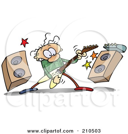 Royalty-Free (RF) Clipart Illustration of a Caucasian Toon Guy Rocking Out With A Guitar By Speakers by gnurf