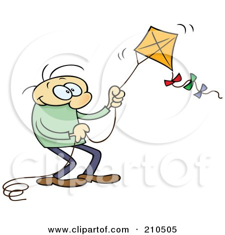 Royalty-Free (RF) Clipart Illustration of a Caucasian Toon Guy Flying A Kite by gnurf
