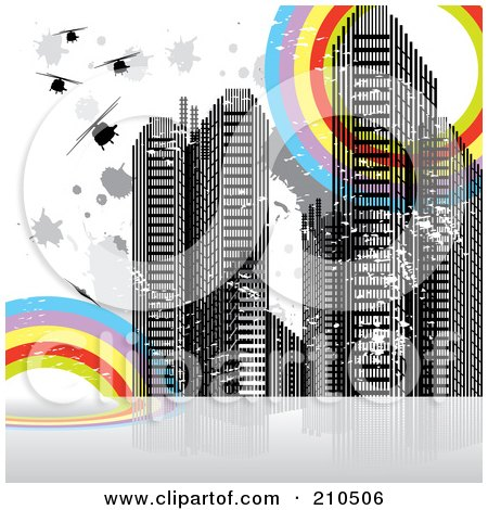 Royalty-Free (RF) Clipart Illustration of a Grungy Urban Background With Skyscrapers, Splatters And Rainbow Circles by MilsiArt
