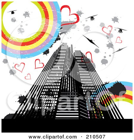 Royalty-Free (RF) Clipart Illustration of a Grungy Urban Background Of Skyscrapers, Hearts, Splatters, Helicopters, And Rainbow Circles by MilsiArt