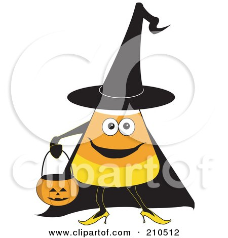 Royalty-Free (RF) Clipart Illustration of a Halloween Candy Corn In A Witch Costume, Carrying A Pumpkin Bucket by erikalchan