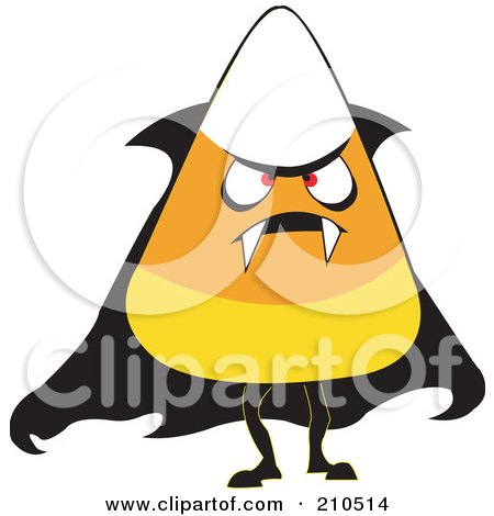 Royalty-Free (RF) Clipart Illustration of a Halloween Candy Corn In A Vampire Costume by erikalchan
